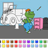Color Games - Car Garage Dinosaurs