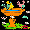 Little birds on the bath coloring