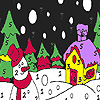 Snowman in the winter night coloring